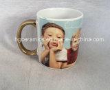 High Quality Sublimation Mug, Sublimation White Mug with Gold Handle