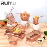 Small Serving Food Presentation Cooking Chlips Stainless Steel Mini Frying Net Strainer Appetizer French Fryers Fires Holder Metal Wire Rose Gold Fry Basket