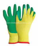 Best Price 10g Yellow Polyester and Cotton Latex Coated Gloves Cotton Green Latex Crinkle Gloves