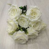 Wedding Decoration Flowers 9 Heads Artificial Flower Silk Rose Flower