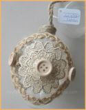 Hanging Eastern Glass Egg Ornament with Flower