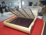 Beige Color Graceful Design Leather Bed