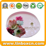 Metal Cosmetics Packing Oval Shape Wedding Tin Box for Soap