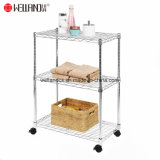 "Collapsible 3-Tier Wire Steel Storage Shelving Adjustable Bathroom Rack Shelf with 1.5"" Nylon Wheels"