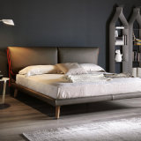 Nordic Simple Genuine Leather Bed Home Furniture Hot Selling Bedroom Furniture Set Soft Double Bed