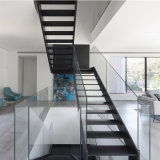 Carbon Steel Beam Straight Staircase with Wood Steps and Glass Railing
