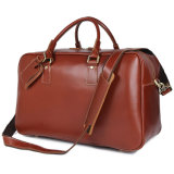 Factory Price Good Quality Reddish Brown Leather Weekenders Duffle Bags for Men