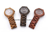 Custom Men Wooden Bangle Quartz Watch with Calendar Display