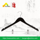 Black Wooden Clothes Hangers with Clips (WCH103-Walnut)