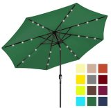 9FT Solar Powered LED Light Lighted Outdoor Garden Patio Umbrella