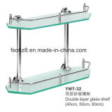 Double Layer Stainless Steel Bathroom Glass Shelf Rack (YMT-32)