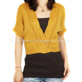 Women Knitted V Neck Long Sleeve Cardigan with Buttons in Nice Fitting (12AW-046)