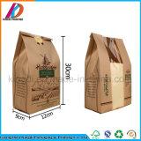Cheap Oil-Proof Flat Bottom Kraft Paper Bakery Bread Packaging Bag with Clear Window