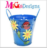Blue Metal Garden Planter with Beautiful Flower and Handle