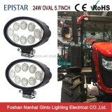 Waterproof 12V 5.7inch Oval 24 Watt Flood LED Tractor Light (GT2012-24W)