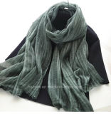 Hot Sale Soft Linen Cotton Woven Striped Scarf / Shawl (HWBLC06)