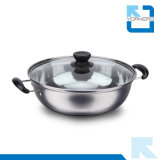 Cheap Stainless Steel Hot Pot with Transparent Lid Multi-Functional Pot