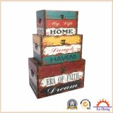 Home Furniture Canvas Print Wooden Storage Gift Box Set of 3 Wooden Trunk