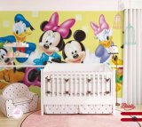 WALL PAPER, WALL MURAL WITH WINNIE, MICKEY, SNOW WHITE PICTURECE, NON-WOVEN PAPER, PVC, CLOTH material