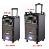 "10"" Battery-Powered Bluetooth PA Multimedia Karaoke Home Theater Audio Trolley Speaker with Wireless Microphone"