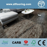6.5mm WPC Click Flooring Black Distressed Hand Scraped Old Teak