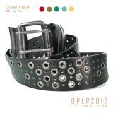 Rock Men Belt Metal Eyelets Punching Style Three Loop Double Pin Buckle Fashion Accessories