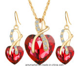 Heart-Shaped Crystal Zircon Necklace+ Earrings Imitation Jewelry for Party Wedding