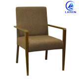 Aluminum Wood Imitate Dining Chair with Armrest Comfortable Cushion