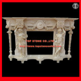Hand Carved Marble Sculpture Fireplace Surround Fireplace Mantel