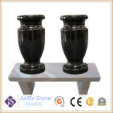 Black Granite Flower Vase for Headstone and Monument