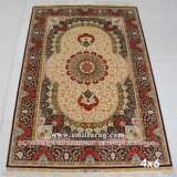 Red Traditional Hand Knotted Silk Persian Carpet Iranian Tabriz Design 400lines Chinese Supplier