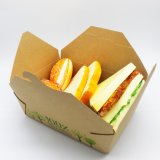 Chinese Factory Direct Price Food Grade Bamboo Pulp Foldable Coating PE or PLA Kraft Paper Package Box for Taking-Away Food