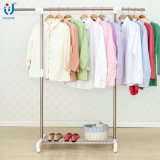 Cheap Single Pole Telescopic Clothes Rack with Storage Meshes