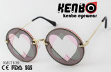 Round Lens Between Two Heart Shape Cut Lens Latest Fashion Sunglasses Km17109
