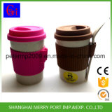 Free Sample Custom Avaliable Wheat Fiber Tea Cups with Silicone Lid and Silicone Sleeves