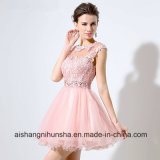 Women Sleeveless Lace Beaded Crystal Tulle Mini Length Prom Dress