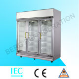 Supermarket Fan Cooling 3 Door Beverage Cooler Cold Drink Refrigerator