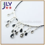 Wholesale Alloy Silver Plating Enamel PU Cord Fashion Imitation Jewellery Necklace