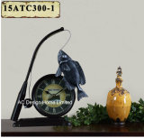 Vintage Decoration Antique Black Fishman Shape Metal Table Top Clock