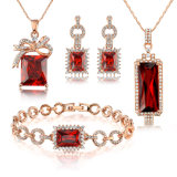 Ruby Crystal Rhineston Alloy African Imitation Jewelry Necklace Set