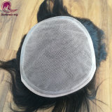 Silk Base Lace Men's Hair Piece Swiss Lace Toupee with PU Round