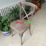 Antiqued Oak Beech Wooden Cross X Back Vineyard Dining Chair