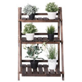 Wood Flower Pot Display Stand Shelf for Indoor and Outdoor Garden