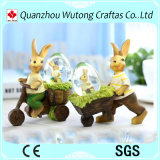 Custom Promotion Holiday Decoration Resin Easter Rabbit Figure Snow Globe