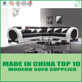 Modern Living Room Furniture Leather Wooden Corner Sofa