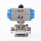 Sanitary Stainless Steel Clamped Three Piece 3PC Ball Valve with Pneumatic Actuator