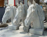 Garden Custom White Marble Carving Animal Sculpture Carved Stone Horse Head Statue for Outdoor Decorative (SY-B189)