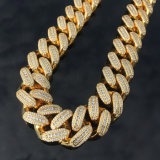 Miss Jewelry Wholesale Stainless Steel 14K Gold Men Cuban Link Cubic Zirconia Chain Necklace