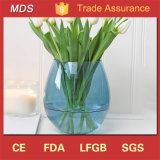 Wholesale Tall Round Blue Glass Vase Flower Decoration for Wedding