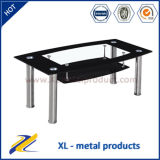 Modern Metal Base and Black Glass Coffee Table